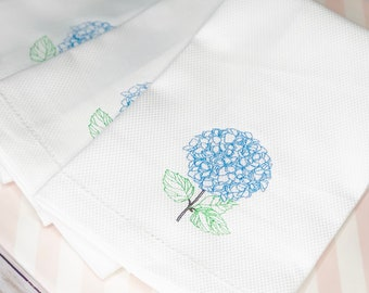 Embroidered Hand Towel, Decorative Towel, Tea Towel, Cotton Towel, Hostess Gift, Housewarming Gift, Bar Cart, Flower Towel, Hydrangea