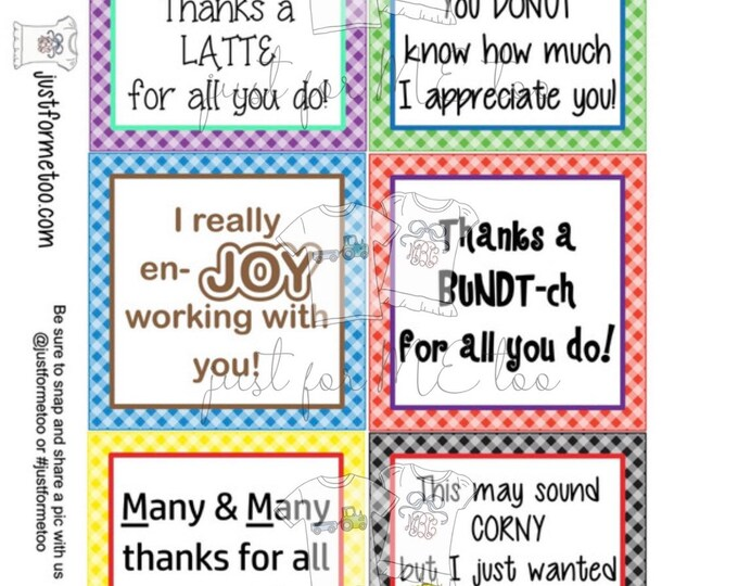 Featured listing image: Appreciation Printable Tags, Instant Download, Employee Tags, Square Gift Tags, Thank you, Co-Worker, Employee Appreciation
