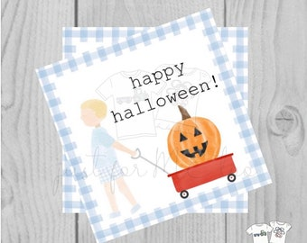 Halloween Printable Tags, Instant Download, Happy Halloween Tags, Square Gift Tag, Blue Gingham, Lunchbox, Printable, Boy Wagon with pumpkin