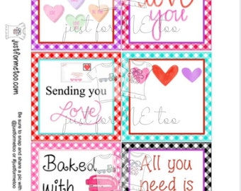 Valentine Bundle Printable Tag Bundle, Valentine's Day Digital Tags, Valentine Tag, Heart Tag, Pintable, Digital Download