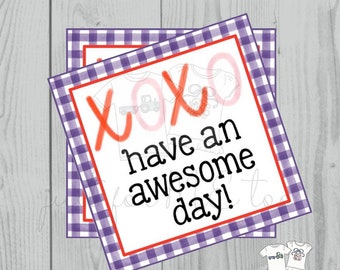 Valentine Printable Tags, Instant Download, Valentine's Day Tags, Square Gift Tags, Classroom Tag, XOXO, Have an Awesome Day