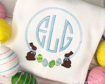 Personalized Easter monogram Shirt or Bodysuit, Bunny Frame with Eggs, Easter Egg Monogram frame, monogram, embroidered, Easter, Bunny