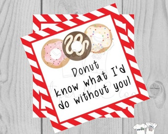 Valentine Printable Tags, Instant Download, Valentine's Day Tags, Square Gift Tags, Classroom Tag, Donut Tag, Donut