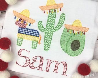 Personalized Fiesta Shirt, Birthday Applique,Fiesta, Taco Tuesday, Cinco de Mayo, Taco Applique, Fiesta Trio Embroidery, Mexican Trio