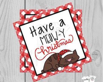 Christmas Printable Tag, Instant Download, Cat Christmas, Have a Meowy Christmas, Santa Tag, Gift Tag, Santa Cat