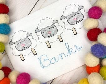 Personalized Boys Easter trio Sketch Stitch Shirt or Bodysuit, Embroidered, Applique, Boy Shirt, Easter Shirt, Sheep Trio Shirt