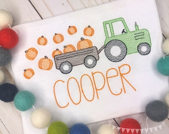 Personalized Pumpkin Tractor Sketch Stitch Shirt or Bodysuit, Embroidered, Applique, Fall, Team Spirit, Tractor Shirt, boy, girl