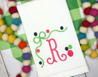 Personalized Embroidered Hand Towel, Decorative Towel, Bow Monogram Hand Towel, Cotton Hand Towel, Bunco Gift, Care Package, Kitchen Towel
