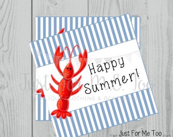 Instant Download Printable Lobster Tag, Summer Party Tag, Lobster Printable, Pool Party Tag, Gift, Summer Tag, Instant Download