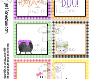 Halloween Printable Tags, Instant Download, Halloween Blank Tags, Square Gift Tags, Birthday, Lunchbox, Pumpkin, Printable, Halloween Bags