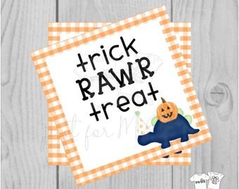 Dinosaur Halloween Printable Tags, Instant Download, Halloween Tags, Square Gift Tags, Classroom Tag, Dinosaur Tag, Treats, Trick Rawr Treat