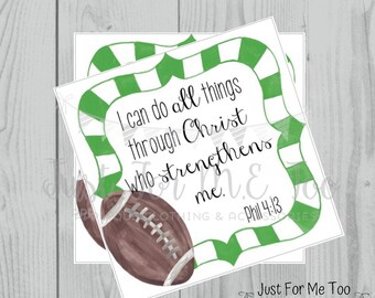 Football Printable Tags,Philippians 4:13, Instant Download, School Tags, Cheerleading Tags, Cheerleader, Football