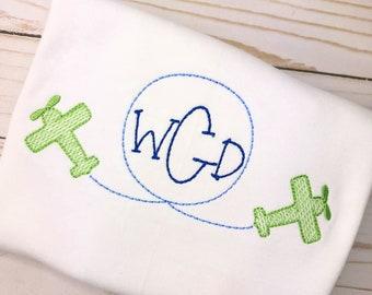Personalized Boys Airplane shirt, Vintage stitch airplane, embroidered airplane, Monogram Shirt, Boys airplane