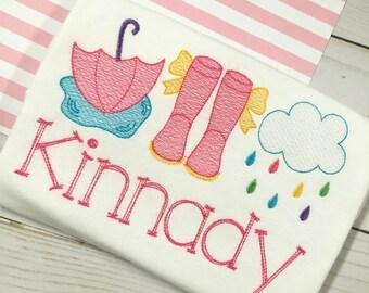 Personalized Rain Shirt or Bodysuit- Vintage stitch umbrella, rain boots, cloud- Rain Trio Shirt- Vintage Spring shirt- embroidery, monogram