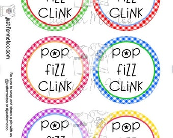 Happy New Year Printable Tag, Instant Download, Gift Tag, 2021 Gift Tag, Round Tag, New Years Gift, New Year Party, Pop Fizz Clink