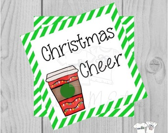 Christmas Printable Tags, Instant Download, Christmas Tags, Christmas Cheer, Merry Christmas, Gift card, Coffee, Hot Chocolate