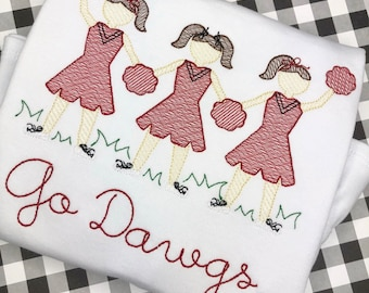 Personalized Girls Cheerleader Trio Shirt or Bodysuit- Sketch Stitch Team Shirt- Cheer applique-Vintage Embroidery- Girl Sports Shirt