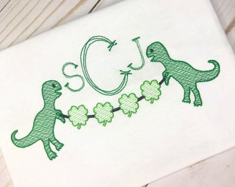 Personalized St Patricks Day Dinosaur shirt, St Patty's Dino with seag, Personalized Dinosaur, Boys St Patrick's Day Shirt, Dinosaur Shirt