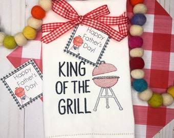 Grill Embroidered Hand Towel, Decorative Towel, Kitchen Towel, Cotton Hand Towel, Bar Cart, Care Package, Father's Day Towel