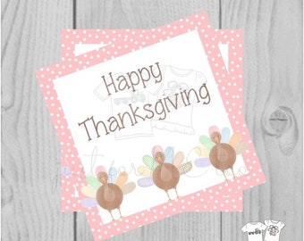 Thanksgiving Printable Tags, Instant Download, Fall Tags, Turkey Gift Tags, Birthday, Lunchbox Notes, Thanksgiving,  Printable, Girl, Pink