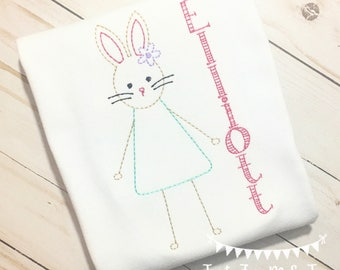 Personalized Girl Vintage Bunny Shirt