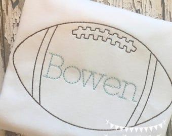 Personalized Boys Football Shirt or Bodysuit- Vintage Football design- Football Applique- Boys Sports Shirt- FREE MONOGRAM