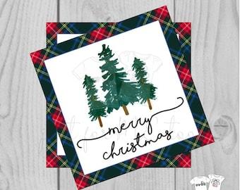 Plaid Merry Christmas Printable Tags, Instant Download, Christmas Tag, Gift Tag, Tartan Plaid