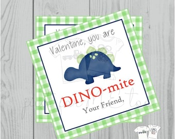 Valentine Printable Tags, Instant Download, Valentine's Day Tags, Square Gift Tags, Classroom Tag, Dinosaur Tag, Treats