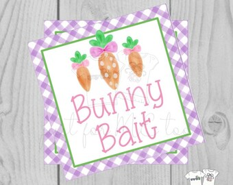 Easter Bunny Printable Tags, Easter Favor Tags, Bunny Bait, Happy Easter Tag, Printable Tags, Party Favors, Carrots, Purple, Pink