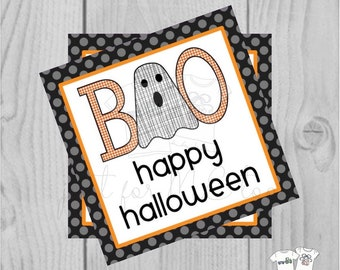 Halloween Printable Tags, Instant Download, Boy Ghost Tags, Square Gift Tags, Happy Halloween, Lunchbox, BOO Tag, Printable, Boo to you