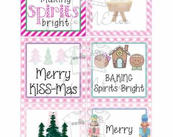 Christmas Bundle 2 Printable Christmas Tags, Instant Download, Christmas Gift Tag, Gifting Tags, Pink Christmas Tags