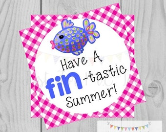 Instant Download Printable Sumer Tag, Summer Party Tag, Summer Printable, Pool Party, Summer Tag, Instant Download, End of School, Fish