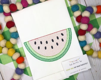 Watermelon Embroidered Hand Towel, Decorative Towel, Kitchen Towel, Cotton Hand Towel, Bar Cart, Care Package, Summer Hand Towel