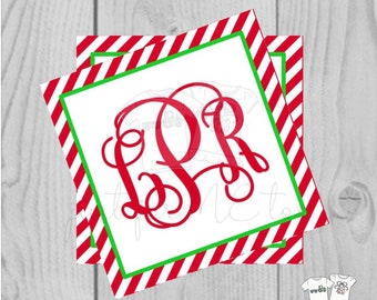 Personalized Christmas Gift Tag, Personalized Tag, Candy Cane Gift Tag, Christmas Tag, Personalize, Monogram Christmas Tag