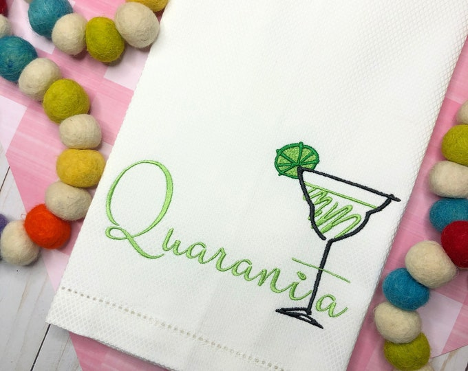 Featured listing image: Margarita Embroidered Hand Towel, Decorative Towel, Margarita Towel, Cotton Hand Towel, Bunco Gift, Social Distance, Care Package
