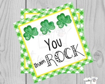 St. Patrick's Day Printable Tags, Instant Download, You Rock Tags, Square Gift Tags, Classroom, Shamrock Tag, Treats, Clover Lucky