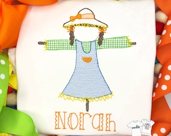 Personalized Fall Girl Scarecrow sketch Stitch Shirt, Fall Shirt, Scarecrow Shirt, Vintage stitch Fall Shirt, Girls, Ruffle Shirt