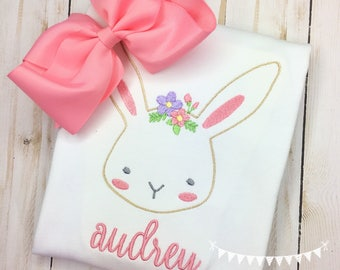 Personalized Easter Shirt- Bunny with Floral Crown