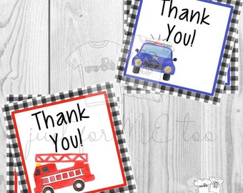 Instant Download Printable Thank You Tags, Police Tag, Fire Truck Tag, Thank You, Friend, Gift, Ta, Emergency Crew, Fireman, Policeman