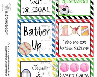 Sports Printable Tags, Instant Download, Sport Tags, Square Gift Tags, Spring Sports, Baseball, Soccer, Tennis, Ball Tags, Snack Tag