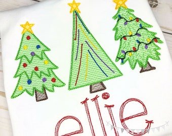 Personalized Christmas Tree Embroidery Shirt, Vintage Stitch Christmas Tree Trio, Embroidery Tree Shirt or bodysuit, Vintage Tree Trio