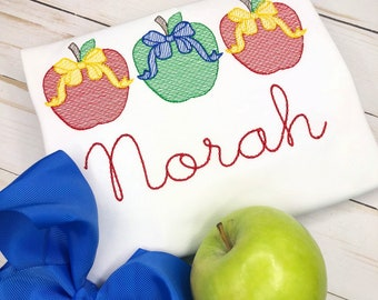 Personalized Back to School Apple Trio with bow Sketch Stitch Embroidery Shirt, Bow, Apple with a bow, B2S, Apple, three in a row apple