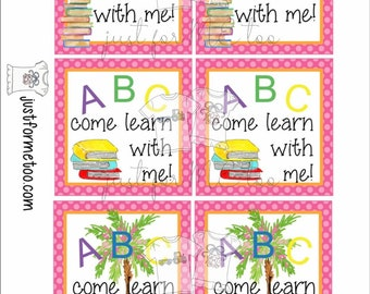 Instant Download Printable Back to School Tags,ABC, School Tag, Classroom Tag, Book Tag