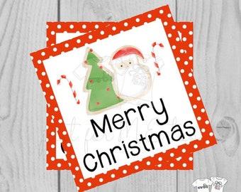 Merry Christmas Cookie Printable Christmas Tag, Cookie Exchange Tag, Santa Cookie, Christmas Tree, Baking, Gift Tag, Gifting