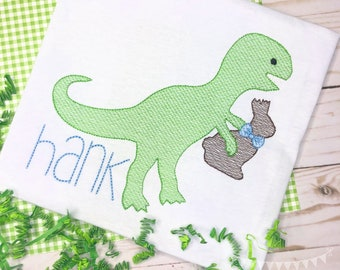 Personalized Easter Dinosaur Embroidered Shirt, Dino Easter, Dinosaur Applique, Embroidered, Sketch Dinosaur, Chocolate Bunny