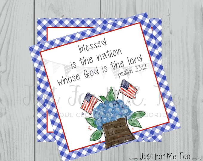 Featured listing image: Instant Download Printable 4th of July Tag, Flag Tag, July 4th Printable, Flag Tags, Bible Verse Printable, Psalm 33:12