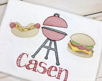 Personalized Cookout Embroidered Sketch Shirt - Embroidered Hotdog, Grill, Hamburger Trio, Father's Day Shirt, Embroidered