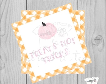 Halloween Printable Tags, Instant Download, Treats not Tricks Tags, Square Gift Tags, Gingham, Printable, Halloween Treats, pumpkin