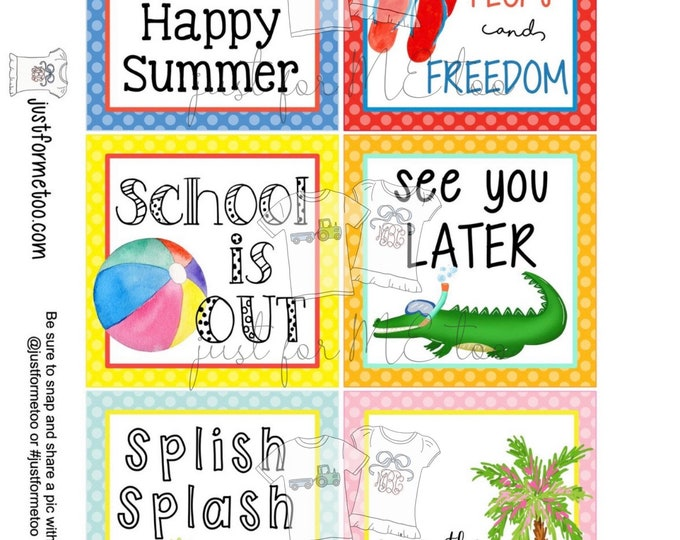Featured listing image: May Bundle Printable Tag Bundle, Digital Tags, Gift Tag, Summer Tag, Pintable, Download, Gift Tags, Patriotic Tag, End of School, Pool Party