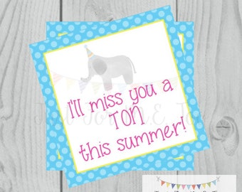 Instant Download Printable Sumer Tag, Elephant, Summer Printable, Pool Party, Summer Tag, Instant Download, End of School, Miss you a TON